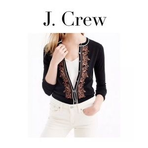 [J Crew] Black Raffia Embroidered Jackie Sweater